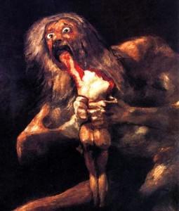 Saturno devorando a sus hijos, de William Blake.